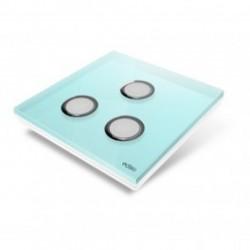 EDISIO - Plaque de recouvrement Diamond - Bleu Clair 3 touches