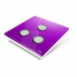 EDISIO - Plaque de recouvrement Diamond - Mauve 3 touches