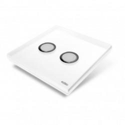EDISIO - Interrupteur Diamond blanche 2 Touches Base blanche