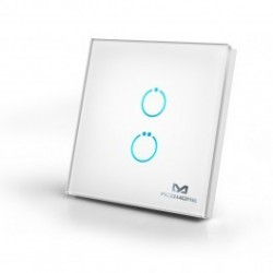 MCOHome - Interrupteur tactile en verre 2 boutons Z-WAVE