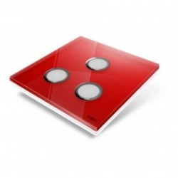 EDISIO - Plaque de recouvrement Diamond - Rouge 3 touches