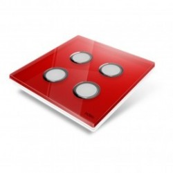 EDISIO - Plaque de recouvrement Diamond - Rouge 4 touches