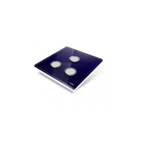 EDISIO - Plaque de recouvrement Diamond - Bleu nuit 3 touches
