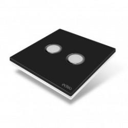 EDISIO - Schalter Elegance schwarz 2-Tasten-weiße Basis