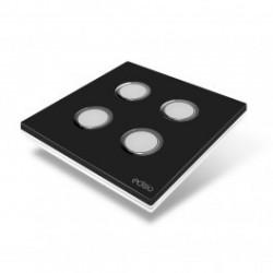 EDISIO - Interrupteur Elegance noir 4 Touches Base blanche