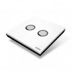 EDISIO - Interruptor de Elegancia Blanco 2 Teclas de la Base de negro