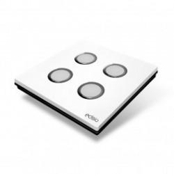 EDISIO - Interruptor de Elegancia Blanco De 4 Claves de la Base de negro