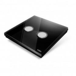 EDISIO - Interrupteur Diamond noir 2 Touches Base noire