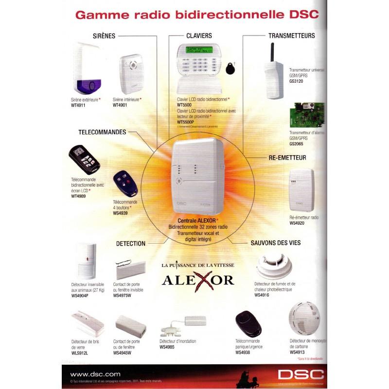 Pack alarme maison dsc alexor pour habitation type f2 for Alarme maison avec telesurveillance