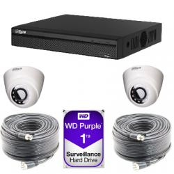 Kit video surveillance Dahua AHD1080P 2 dome cameras