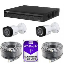 Kit video surveillance Dahua AHD1080P 2 cameras