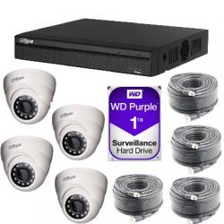Kit video surveillance Dahua AHD1080P 4 dome cameras