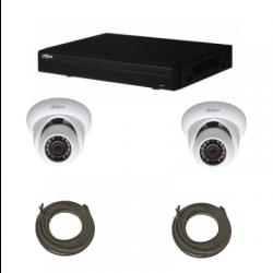 Pack de video vigilancia IP DAHUA de 1 Megapíxel 2 cámaras domo