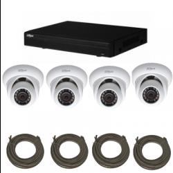 Pack de video vigilancia IP DAHUA 1 Megapixel 4 cámaras domo