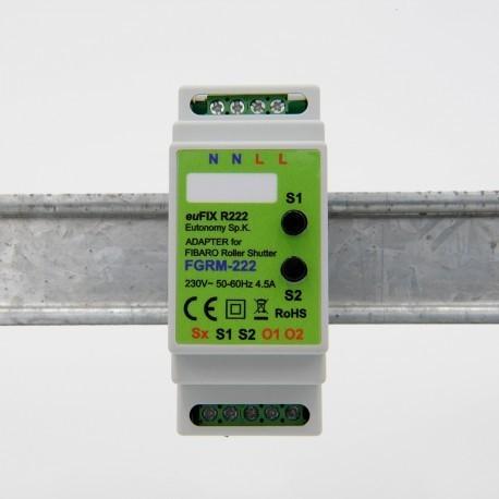 EUTONOMY R223 - Adaptateur euFIX RAIL DIN pour module Fibaro FGR-223 avec boutons