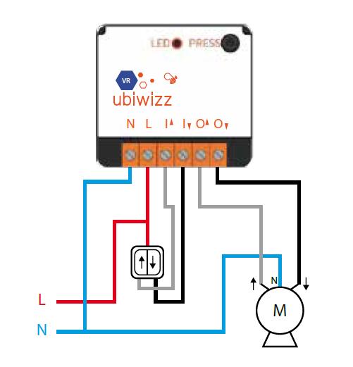 branchement module volet roulant Ubiwizz